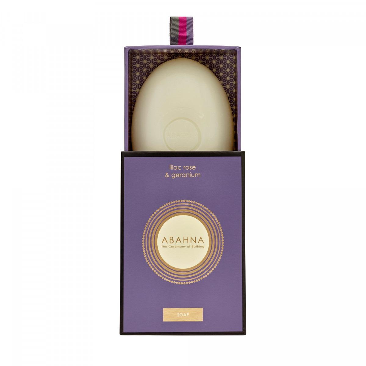 Abahna lilac rose & geranium boxed soap 170g