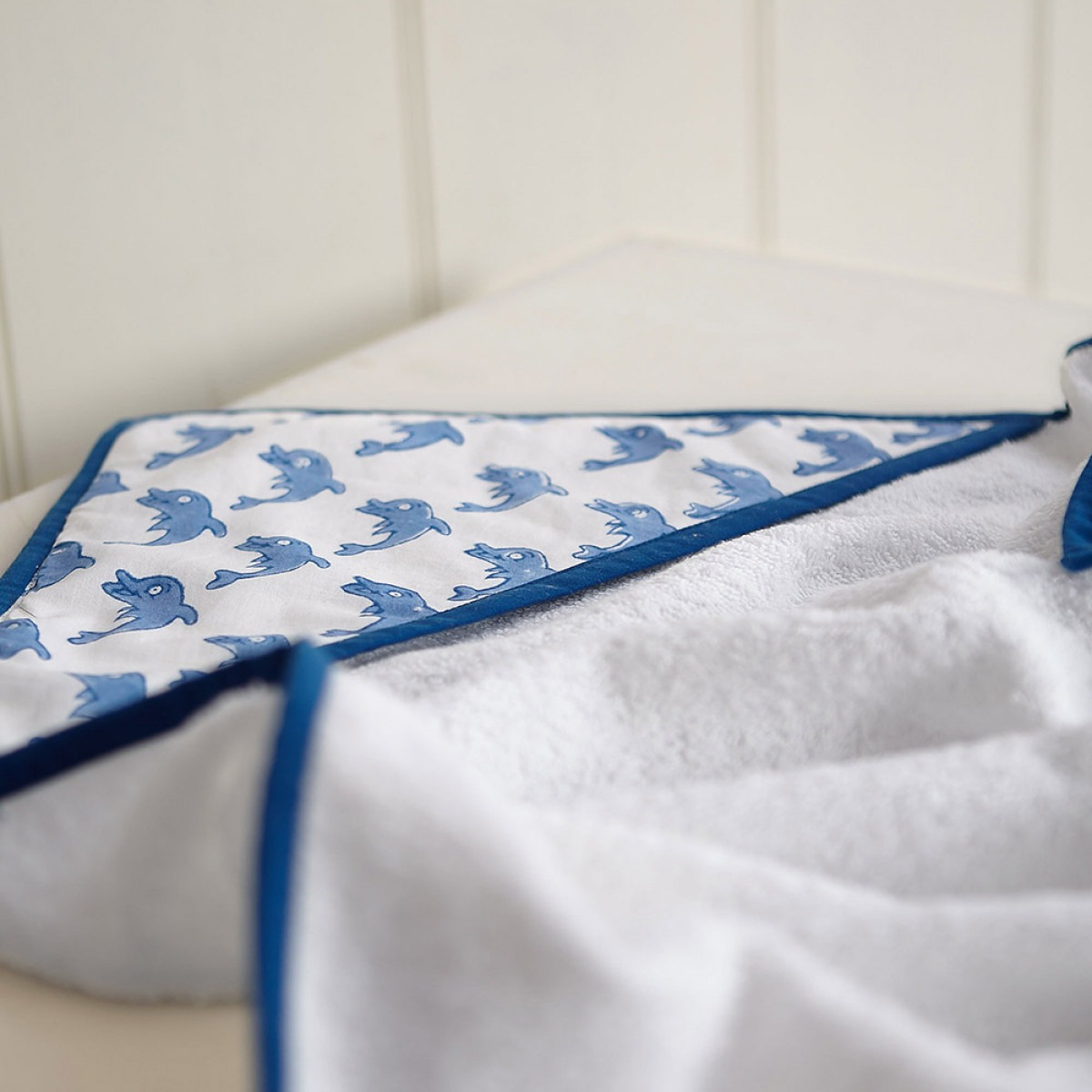 Blue dolphin hooded towel
