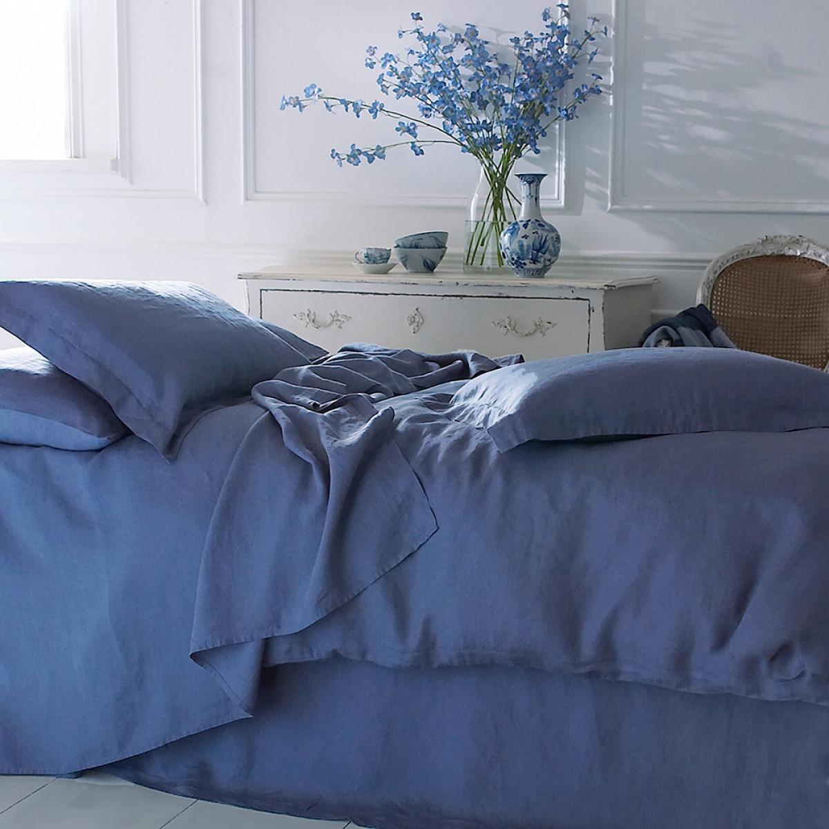 Marine blue washed linen