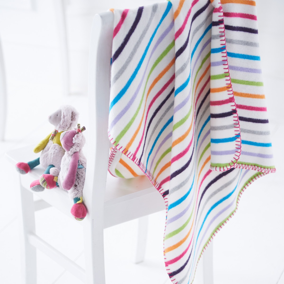 Multi Coloured Stripey Baby Blanket