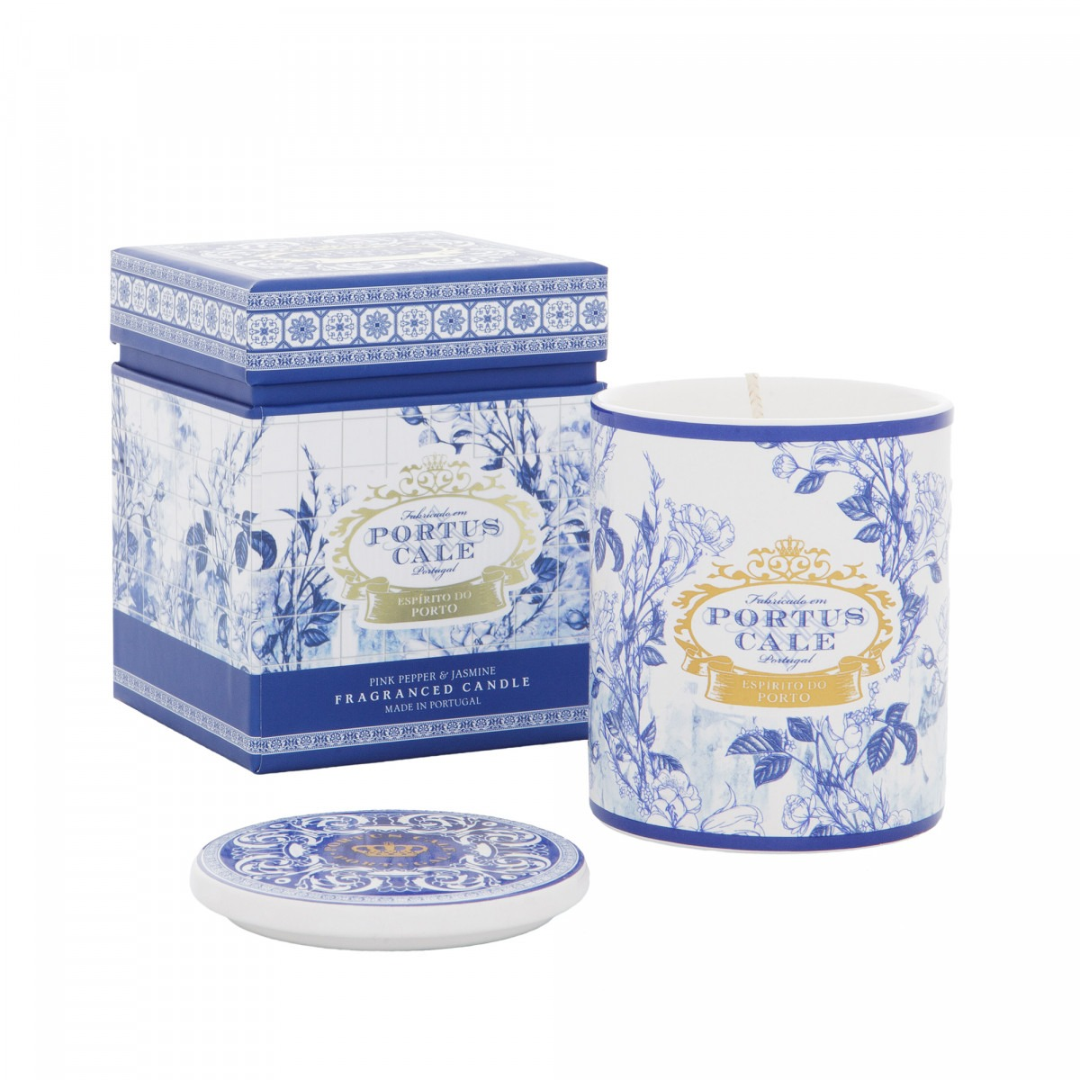Portus Cale Gold and Blue Candle 215g