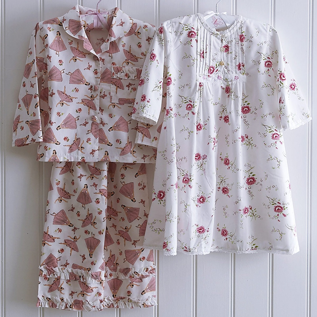 Rosy nighdress and ballerina pyjamas