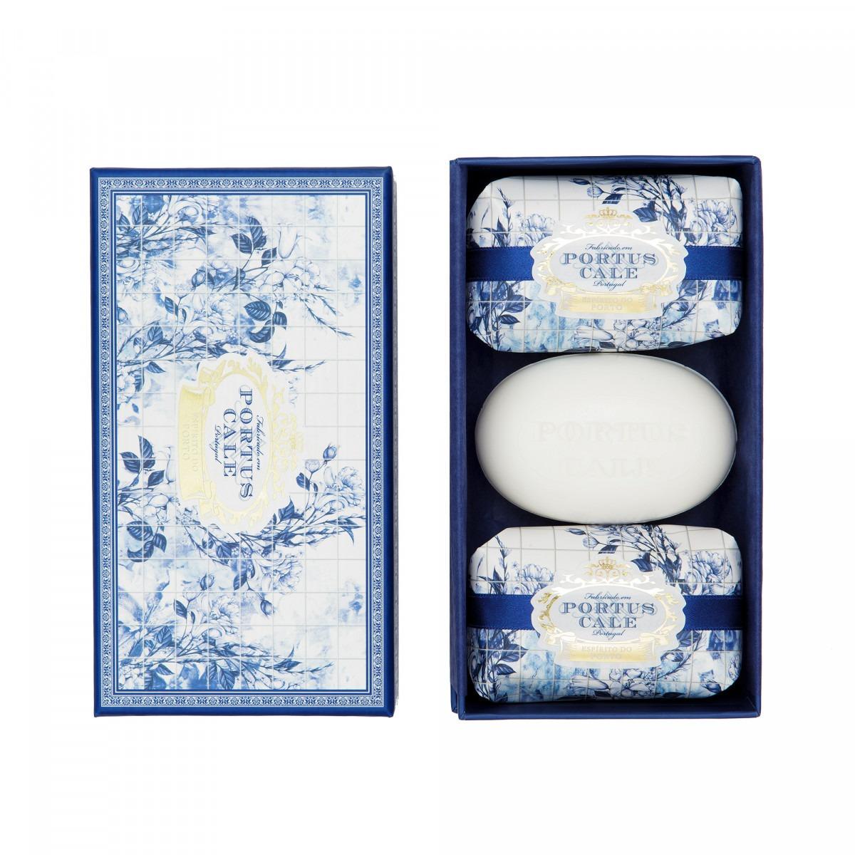 Portus Cale Gold and Blue Soap Set 3 x 150g