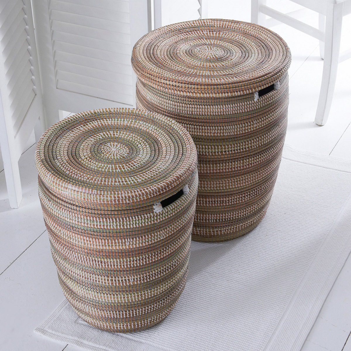 Hand woven laundry baskets
