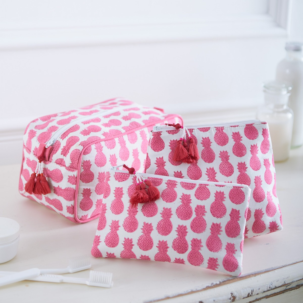 Pink Pineapples Block Printed Washbags
