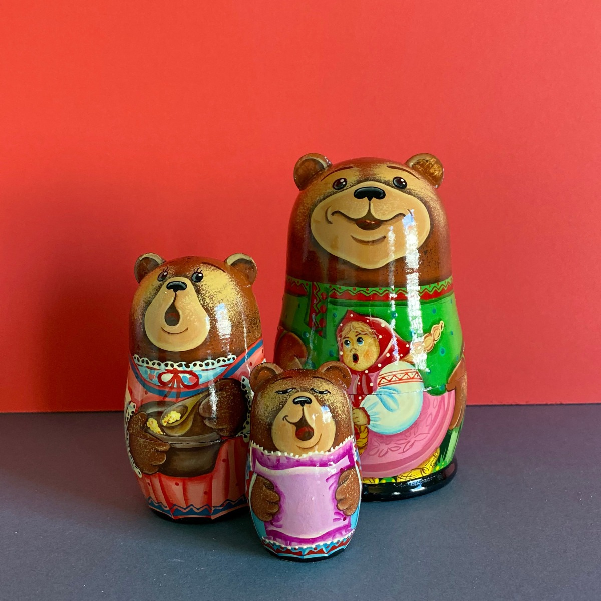Brightly Painted Fairy Tale Bear Russian Doll Set 11cm