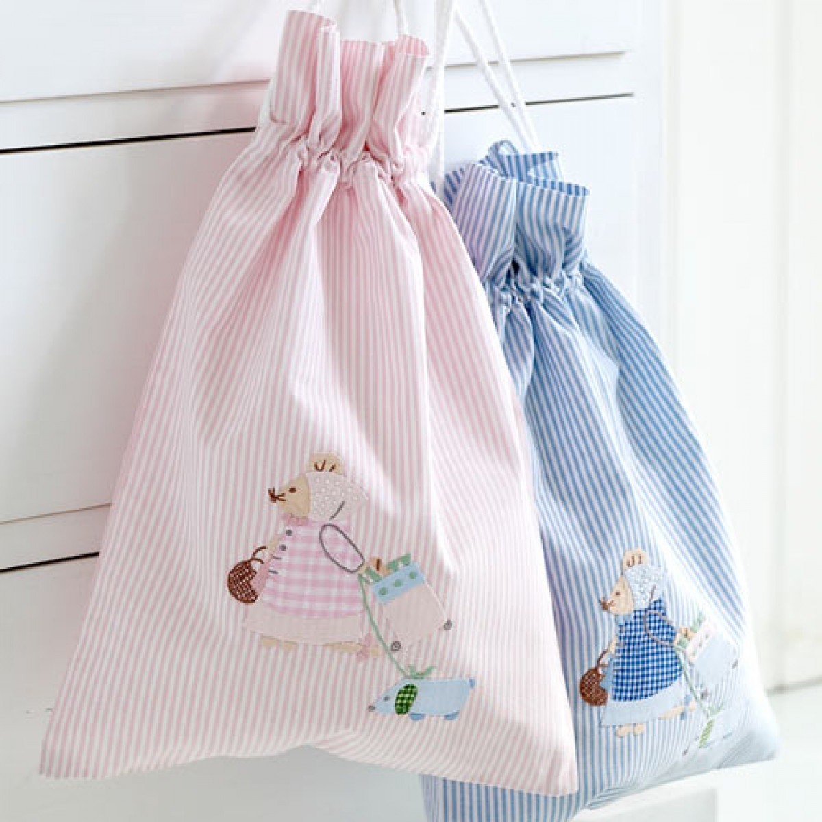 Pink And Blue Stripe Cotton Bags