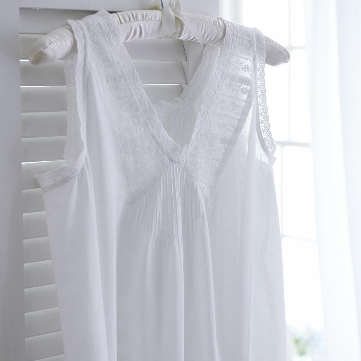 White Cotton Sleeveless V Neck Nightdress