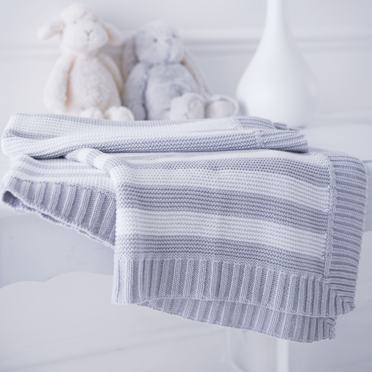 Knitted Baby Blanket Stripey Grey And White