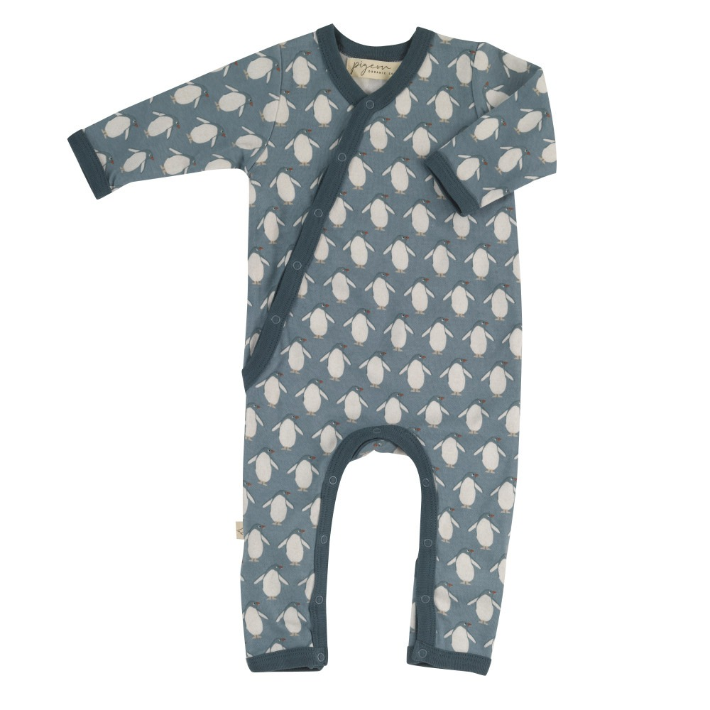 Organic Baby Rompers Turquoise Penguin