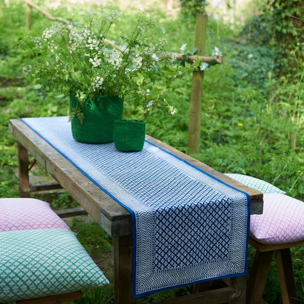 Block Printed Table Runner And Cushions