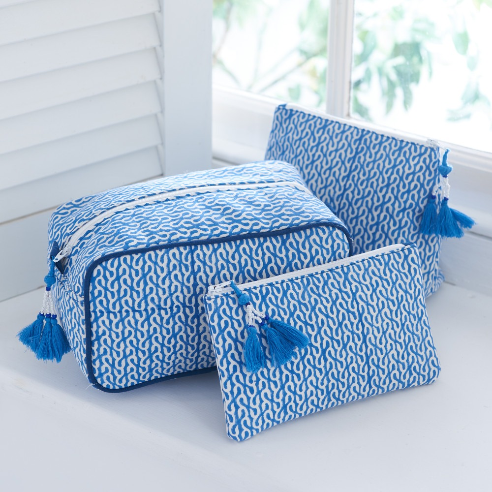 Blue Vine Block Printed Washbags