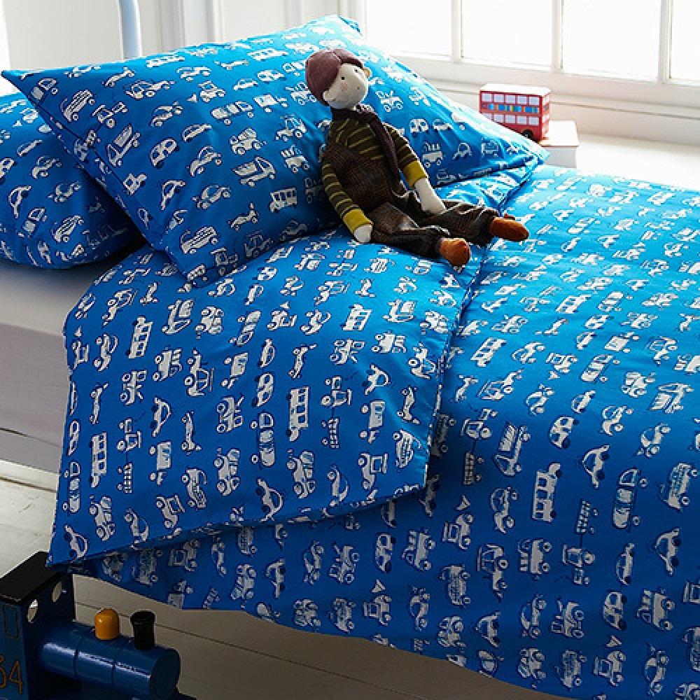 Blue trucks and cars printed children's bedlinen