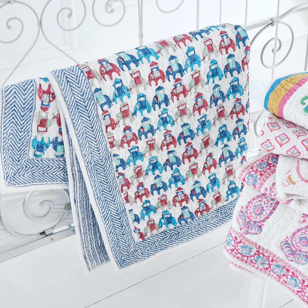 Elephants On Parade Cot Bed Quilt