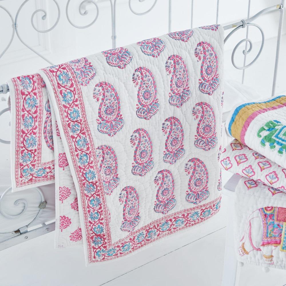 Pink & Aqua Paisley Cot Bed Quilt