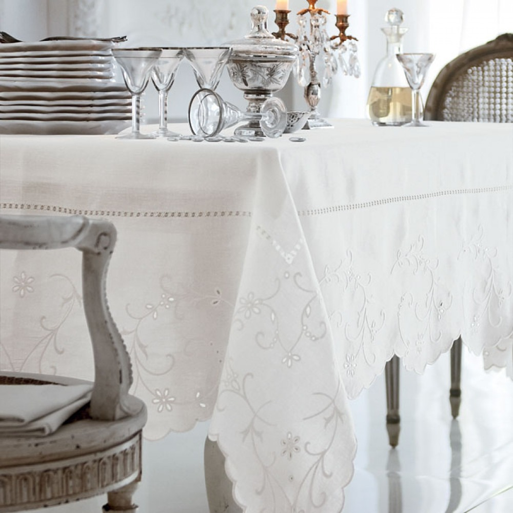 Embroidered Pure Linen Tablecloth