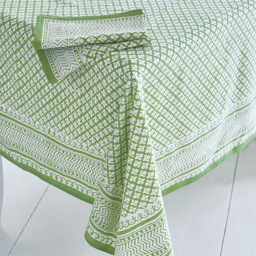 Block Printed Tablecloth Design 11 Green
