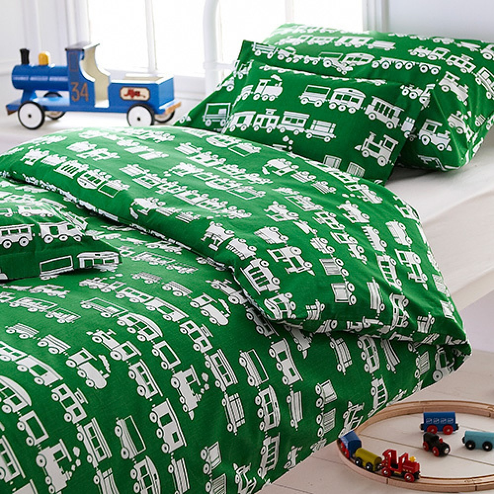 Green Trains Printed Children's Bedlinen