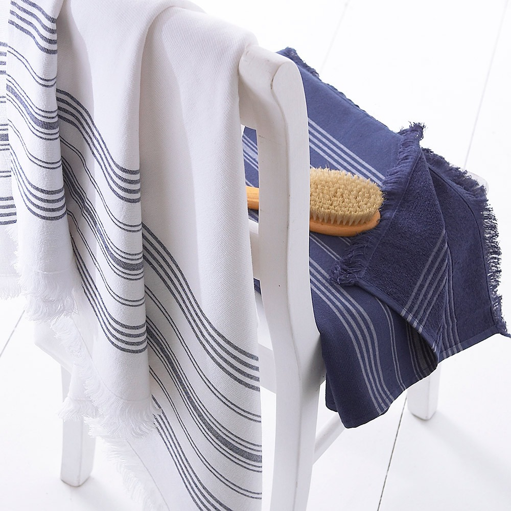 Navy & White Hamam Towels