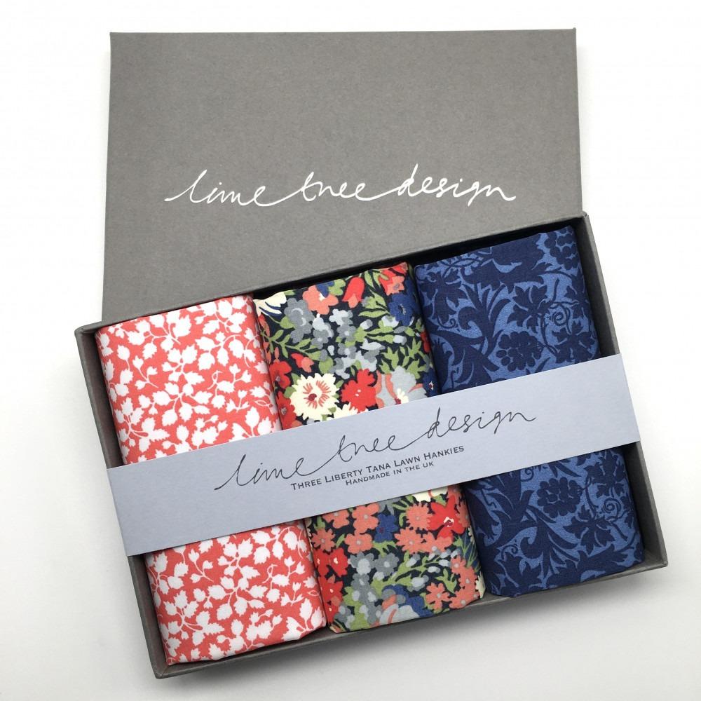 Hyde Park Set of 3 Liberty Print Cotton Handkerchiefs