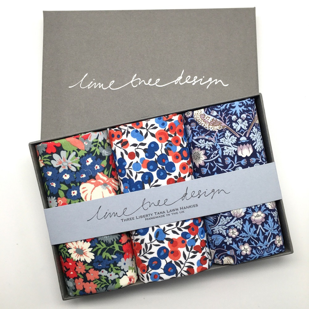 Percy Thrower Set of 3 Liberty Print Cotton Handkerchiefs