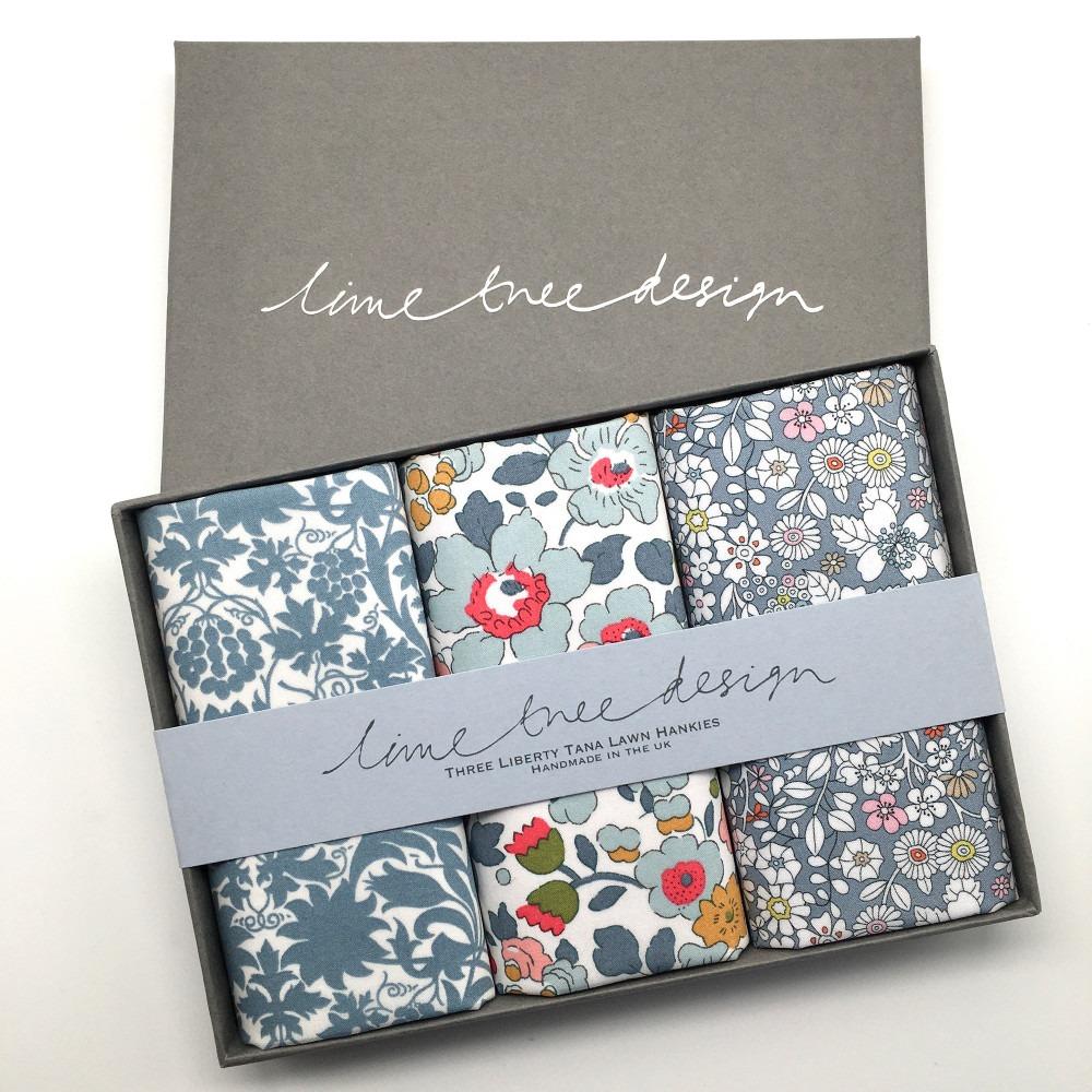 Earl Grey Set of 3 Liberty Print Cotton Handkerchiefs