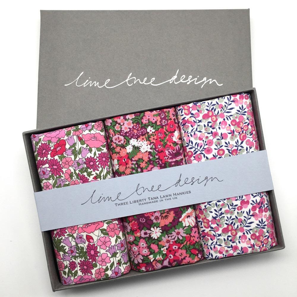 Tickled Pink Set of 3 Liberty Print Cotton Handkerchiefs