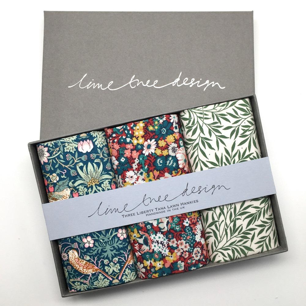 Green Gables Set of 3 Liberty Print Cotton Handkerchiefs