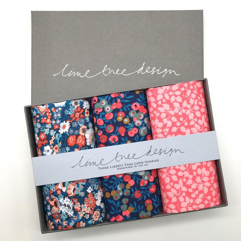 Thanksgiving Set of 3 Liberty Print Cotton Handkerchiefs