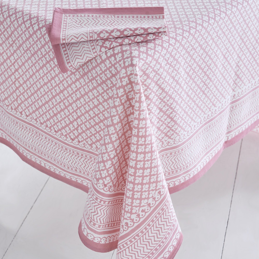 Block Printed Tablecloth Design 9 Pink