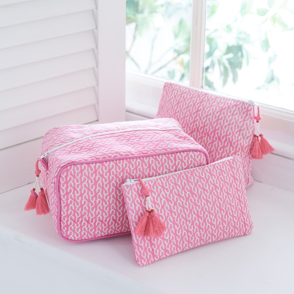 Pink Vine Block Printed Washbags