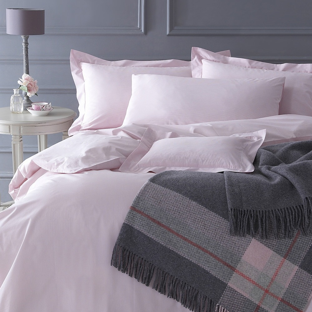 Pink Salcombe Stripe Cotton Bedlinen