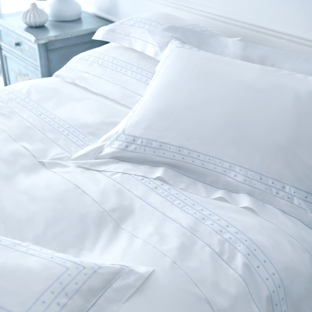 Plumetis White Cotton Embroidered Bedlinen