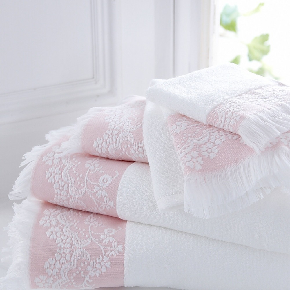 Riviera Pink White Cotton Towels