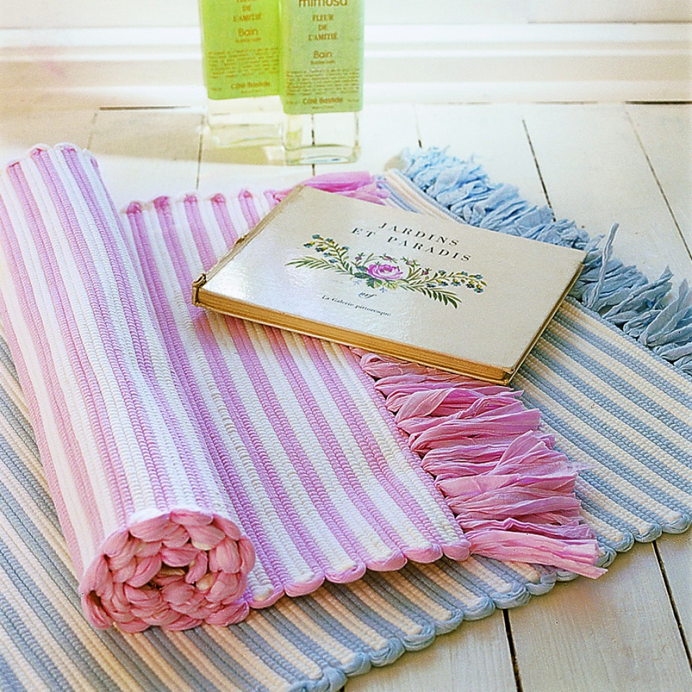 Pink and Blue Stripey Bath Mats