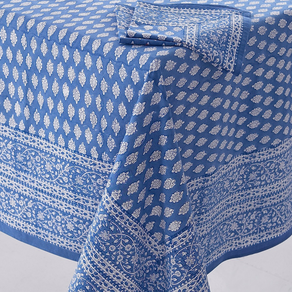 Block Printed Tablecloth Design 1 Blue and White