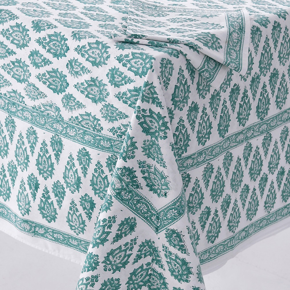Block Printed Tablecloth Design 7 Green Paisley