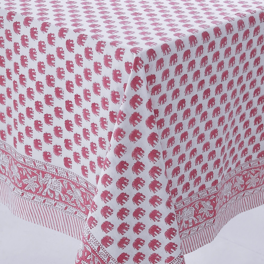 Block Printed Tablecloth Design 3 Pink Elephant