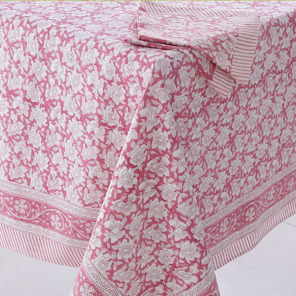 Block Printed Tablecloth Design 4 Pink Floral