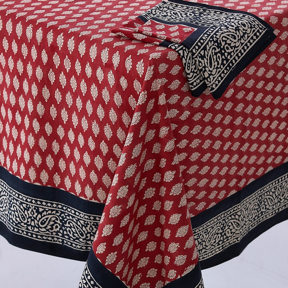 Block Printed Tablecloth Design 5 Red and Black