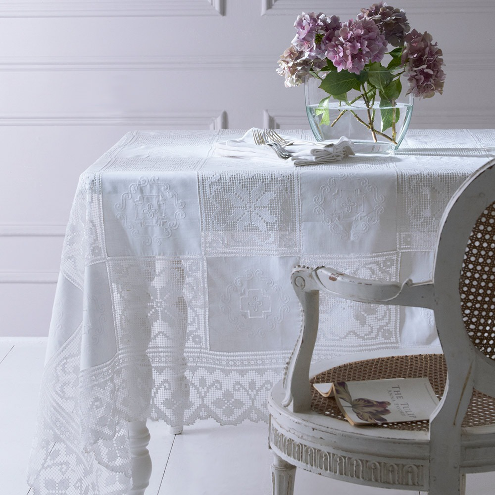 Army and Navy White Linen Tablecloth 72 x 108