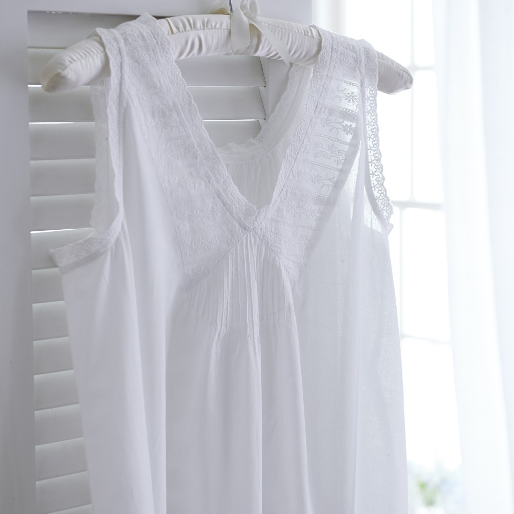 White Cotton Sleeveless V Neck Nightdress