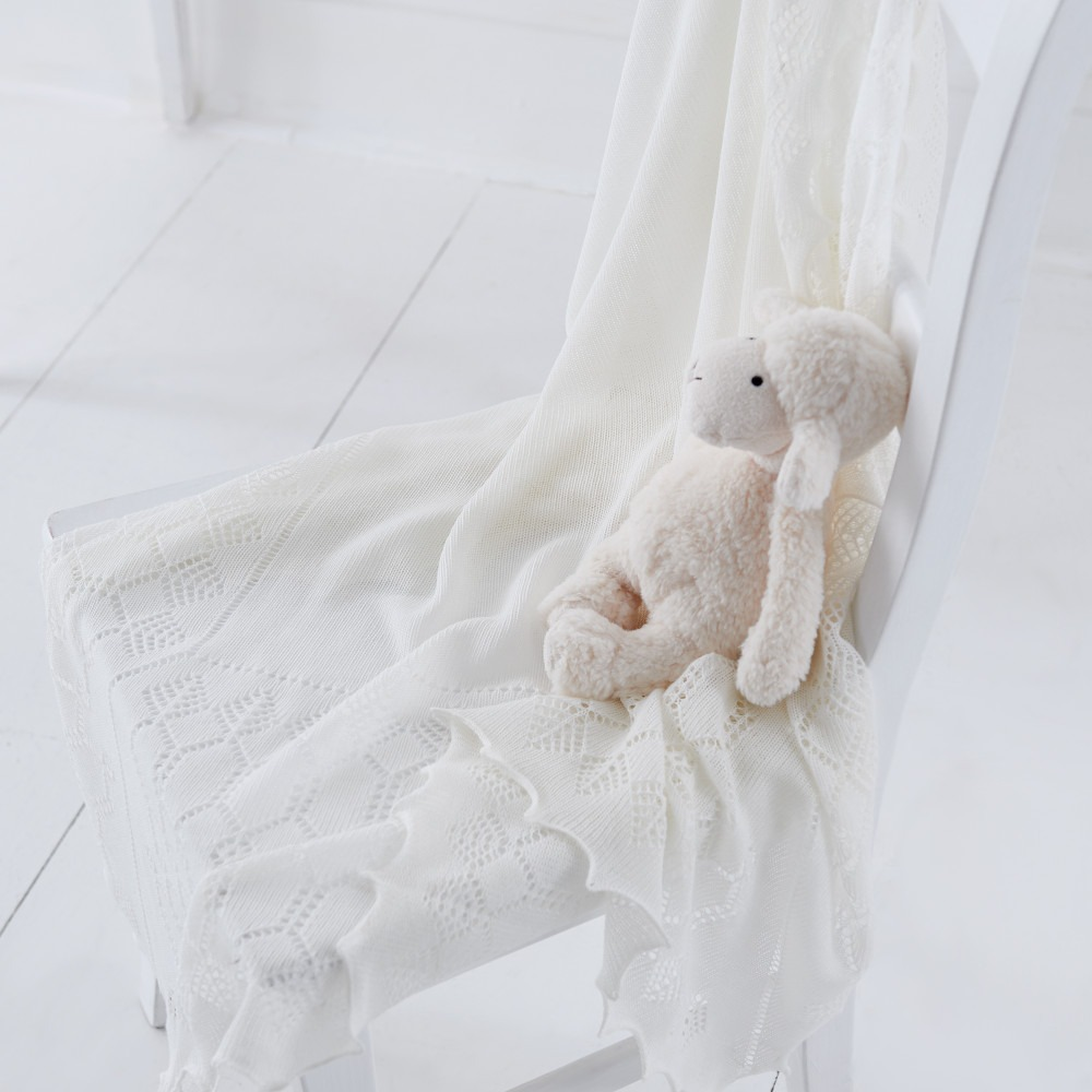 White Soft Baby Shawl Blanket