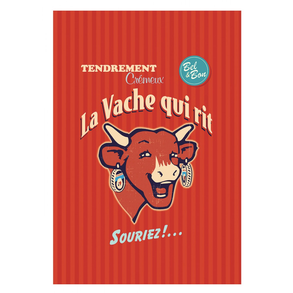 Tea Towel - Vache Qui Rit Retro Rouge