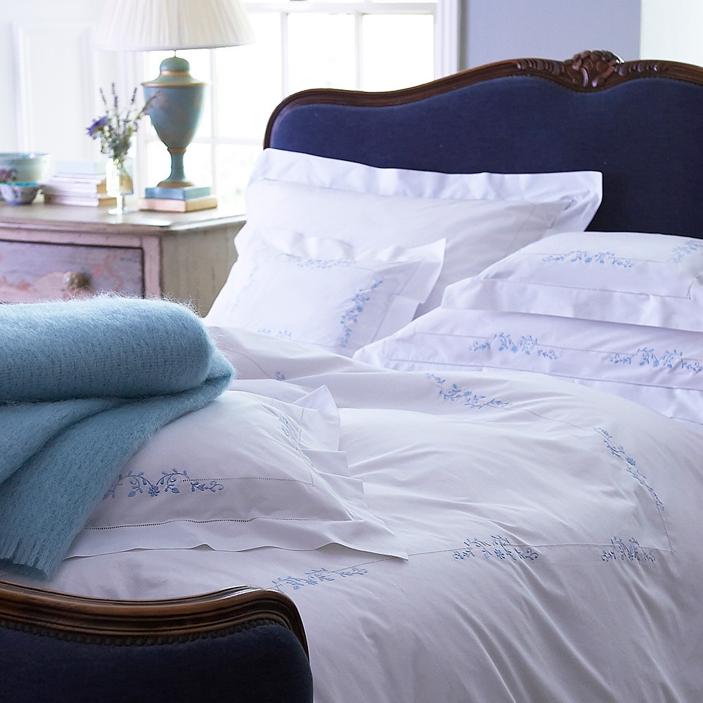 Blue Victoria Embroidered Bed Linen