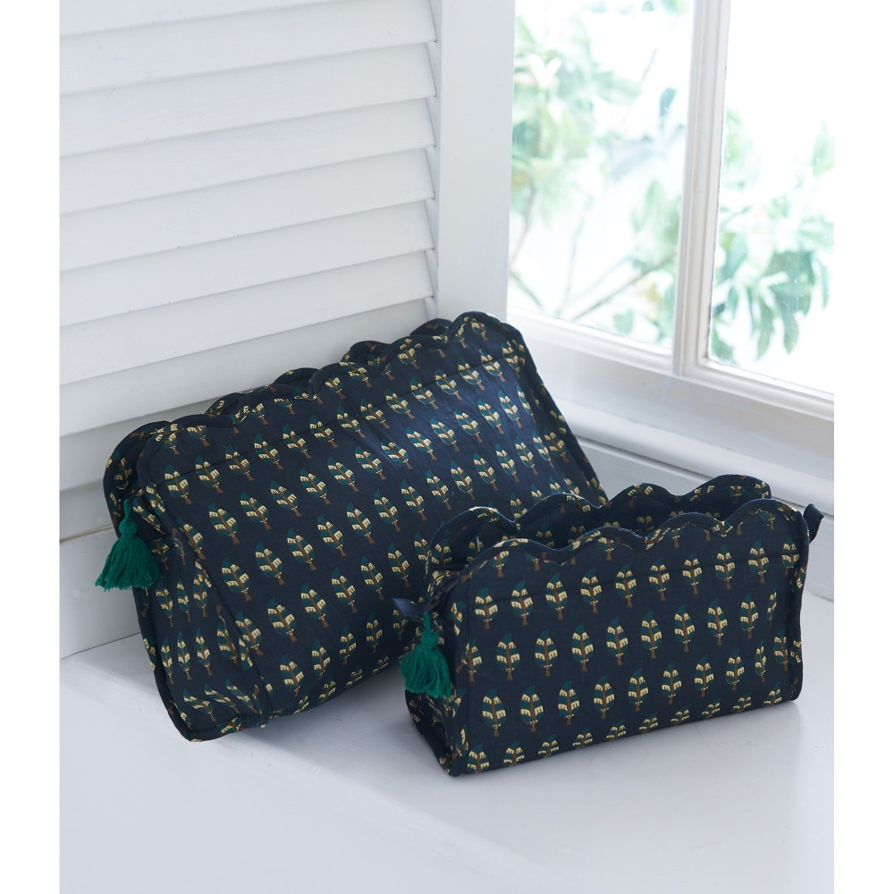 Black Motif Block Printed Washbags Cosmetic Bags