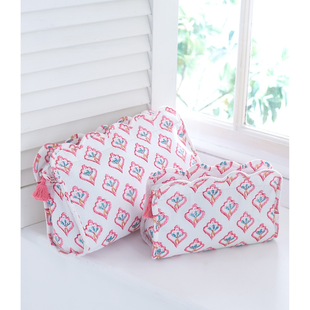 Pink Motif Block Printed Washbags Cosmetic Bags