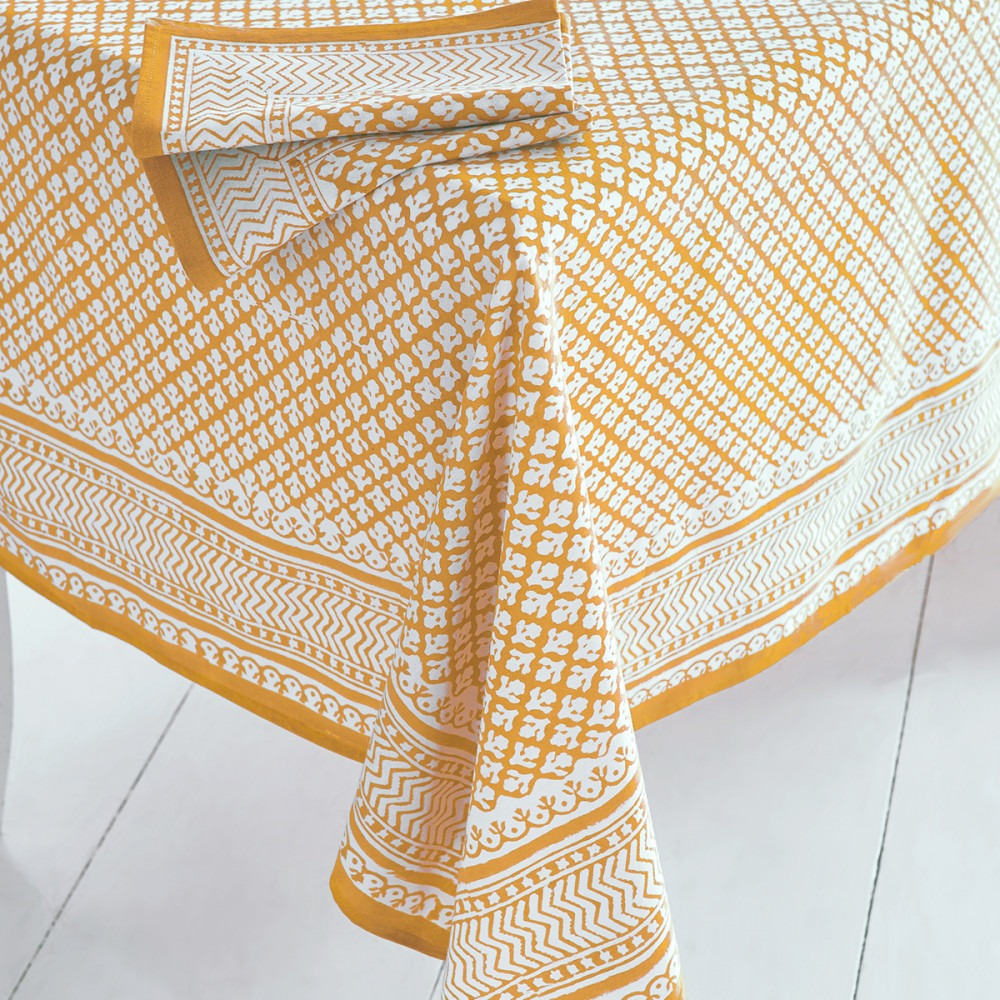 Block Printed Tablecloth & Napkin Yellow