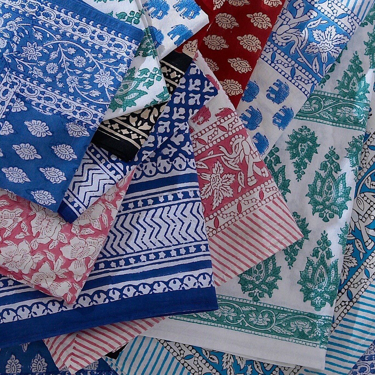 Block printed table cloths and napkins