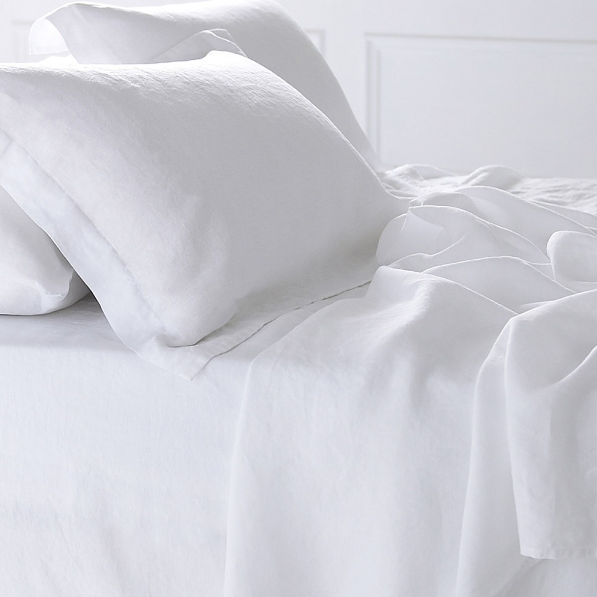 Pure white washed linen